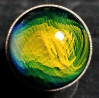 Contemporary Art Glass Marble Electroformed Fumed Borosilicate Gold Silver Fumed
