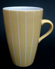 Marks & Spencer Home Stoneware Yellow Stripe Tall 375ml Tea Coffee Mugs 9cmh VGC