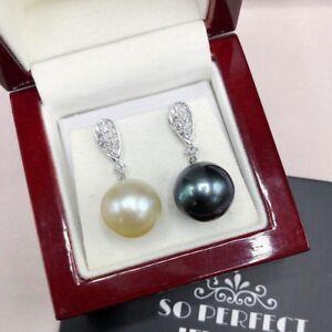MISMATCH! 13mm South Sea Pearl VS Diamonds 18K Solid White Gold Earrings Tahiti