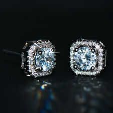 Luxury Round White Sapphire Square Stud Earrings 925 Silver Wedding Ear Studs