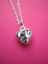 FUNKY SILVER BLACK BARBIE HEAD CAMEO HEART NECKLACE KITSCH CUTE RETRO DOLL 80s