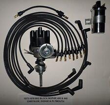 MOPAR 440 73-78 BLACK Small Female Cap HEI Distributor+45K Coil+Spark Plug Wires