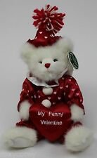 "The Bearington Collection 13"" White Plush Bear My Funny Valentine on Pillow NWT"