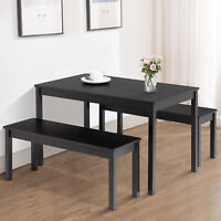 3PCS Dining Table Set w/ 2 Benches Kitchen Dining Room Furniture Pine Wood Black