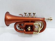 CHRISTMAS SALE HIGH QUALITY COPPER COLOURED Bb POCKET TRUMPET FREE CASE+M/P