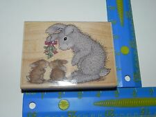 Stampabilities Rubber Stamp House Mouse HAPPY HOPPERS Bunny Kisses