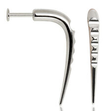PAIR CURVE TIERED CHIN LABRET SURGICAL STEEL 316L 14g SILVER BAR 10 mm