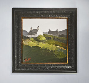 Welsh Landscape Painting of Cottages by A Hudson - Kyffin Williams Influence