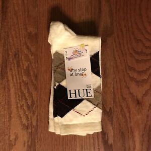 Hue Womens 2 Pair Boot Socks Ivory Argyle One Size New