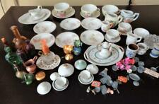 Miniature Childrens & Dollhouse Dishes Plates Cups Teapot Coffee Pot Glass Metal