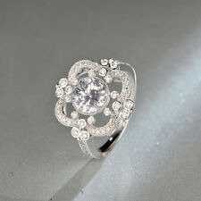 1.46Ct Off White Moissanite Vintage Art Deco Engagement Ring 925 Sterling Silver