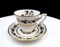 "ROYAL WORCESTER #Z2164 BERNINA WHITE FLOWERS 2.5"" DEMITASSE CUP & SAUCER 1958-86"
