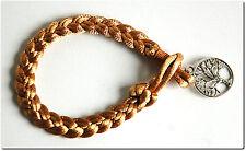 Bracelet tressé arbre de vie bijou mode fantaisie beige porte bonheur cadeau