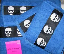 BETSEY JOHNSON 3-Piece Set Skelator Skulls Blue BATH TOWEL Hand Towel Face Towel