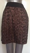 WAREHOUSE, SIZE 8, BROWN SEQUIN STRAIGHT SKIRT, PRE-LOVED