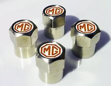 4 x Silver Chrome Tyre Valve Dust Caps (Fits MG) - RED