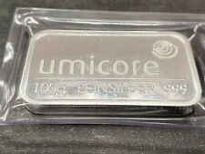 Umicore 100 Gram 999 Silver Bullion Shrink Wrapped Mint State Ag Silverbar