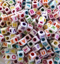 100 x 6mm white Multi flat square mixed (random) alphabet/letter acrylic beads