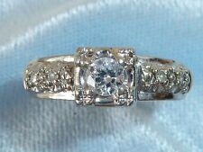Vintage 14K Yellow Gold Ring, 3.75mm & 4, 1.5mm Diamonds TCW 1/4 Carat Size 5.25