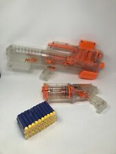 NERF Gun Lot - DEPLOY CS-6 and MAVERICK REV-6 - Clear Series with Clip and Darts