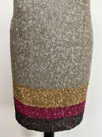 TED BAKER DRESS, GREEN, GOLD, PINK & GREY SEQUINS, SLEEVELESS, TED SIZE 2, UK 10