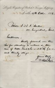 1886 LEITH, LlOYD'S REGISTRY BRITISH & FOREIGN SHIPPING, HEADED LETTER
