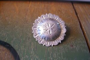 """Vintage Sterling Silver 1 1/2"""" Pico Concho Headstall Belt Breast Collar Saddle"""