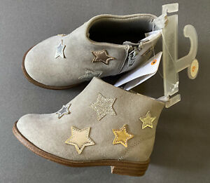 Toddler Girl Size 6 Gymboree Gray Textile Metallic Star Zip Up ankle Boots Shoes