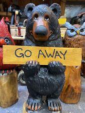 Chainsaw Carved BLACK BEAR with FREE CUSTOMIZED Walnut Wood Folk Art UNIQUE!
