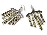 Bijou argent 925 boucles d'oreilles pendantes péridot naturel earrings