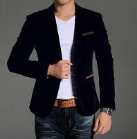 M-4XL Mens Velvet Slim Fit Blazer One Button Suit Casual Dress Coat Jacket Sz