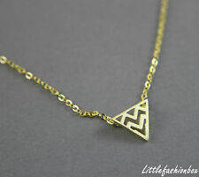 Yellow Gold Plated 925 Sterling Silver Tiny Triangle Fine Necklace UK New 1.99g