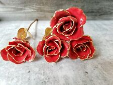 """Lot of 4 Gold Dipped Rose: 11"""" Red Real Rose Valentine's Day Beautiful"""
