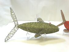 Vintage Beadworx LARGE Hanging GREEN FISH Glass Beads on Galvanized Wire ~ 14""