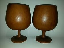 """Wooden Goblets 8.25"""" tall Large Mid Century Wood Work Wood Goblets"""