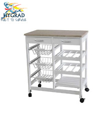 Wooden Kitchen Trolley Top Island Dining Cart Worktop Basket Storage 2 Colours