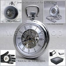 Mechanical Pocket Watch Silver Men Skeleton 49 mm with Chain and Gift Box P12