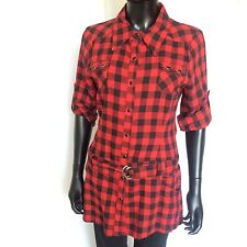 Love On A Hanger Womens Shirt Size Large Button Down Plaid Fitted  Top Red L