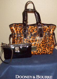 Dooney & Bourke Cheetah Leopard Ocelot Purse & Patent Leather Wristlet Set