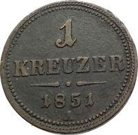 1851 AUSTRIA King Emperor Franz Joseph I Antique 1 Kreuzer Austrian Coin i74572