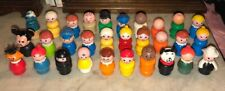 Vintage Fisher Price 30 Little People Lot Wooden Plastic Baby Dog Mickey Smurf