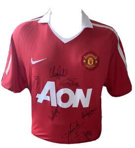 Signed Manchester United Legends Shirt Ferguson Vidic Charlton Macari Evra Owen