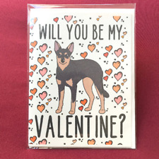 Australian Kelpie Valentines Day Card Handmade Holiday Dog Notecard for All Ages