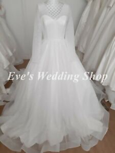 Beautiful sparkly glitter wedding dress with sleeves UK 10 - check measurements
