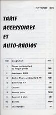 Citroen Accessories & Radios 1975-76 French Market Price List Foldout Brochure