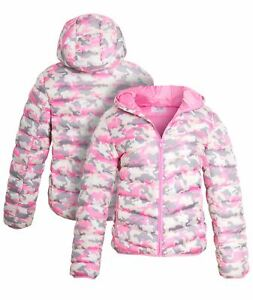 Girls Padded Puffer Coat Ages 7 8 9 10 11 12 13 Years Jacket Pink Camouflage