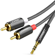 Braided 3.5mm To 2RCA Audio Auxiliary Stereo Y Splitter Nylon 6ft Cable Cord