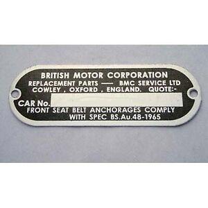 Mini  BMC Chassis  Plate British Motor Corporation Austin Morris Riley Wolsley