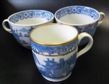 Antique Original Cups & Saucers Blue & White Transfer Ware Pottery