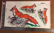 Decal foxes Vintage 1979 hand painted effect, Decorcal, self adhesive, W-24
